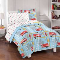 Dream Factory Fire Truck Bed In A Bag Comforter Set,Blue ...