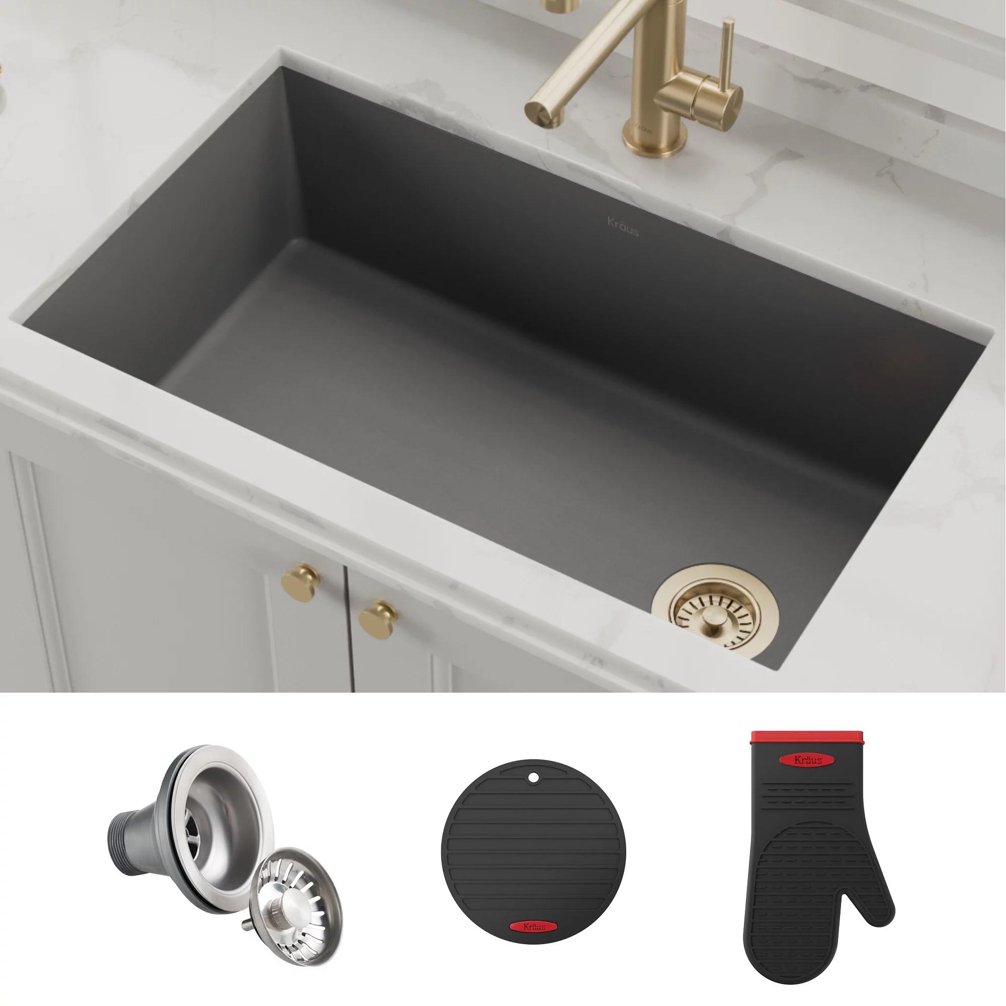 kraus forteza 32 undermount single bowl granite kitchen sink in grey walmart com