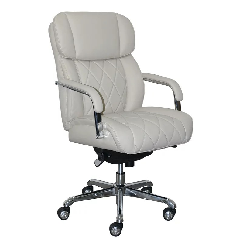 ivory leather office chair kitchen design plans la z boy sutherland with padded arms light walmart com