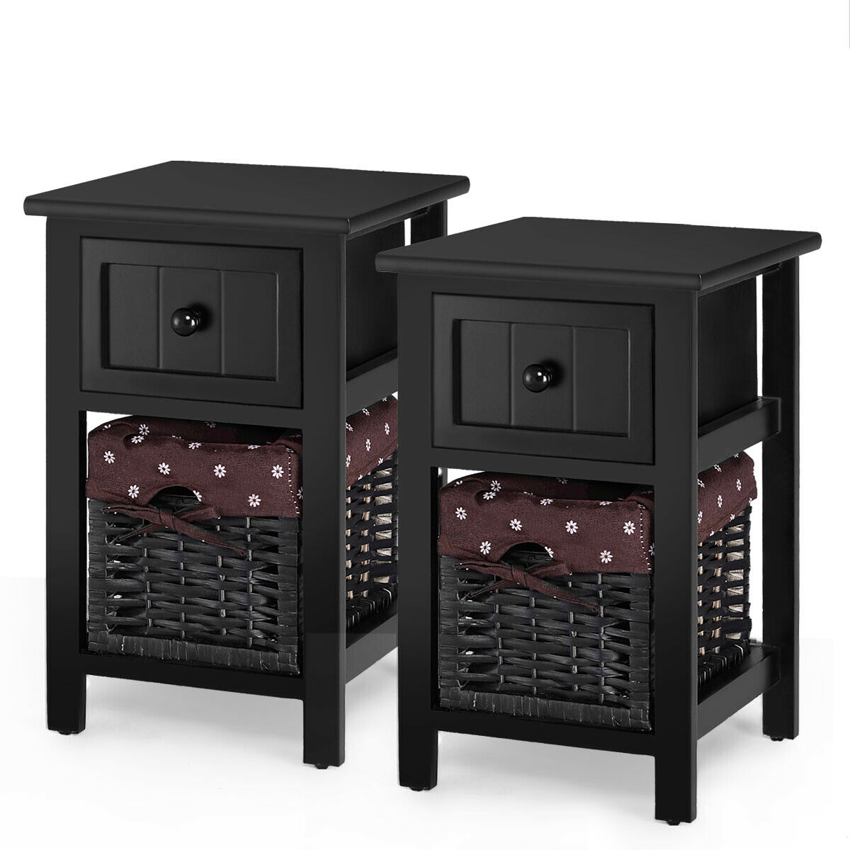 Gymax 2 Pcs 2 Tier Mini Nightstand 1 Drawer Bedside End Table Organizer Wood W Basket Black Walmart Com