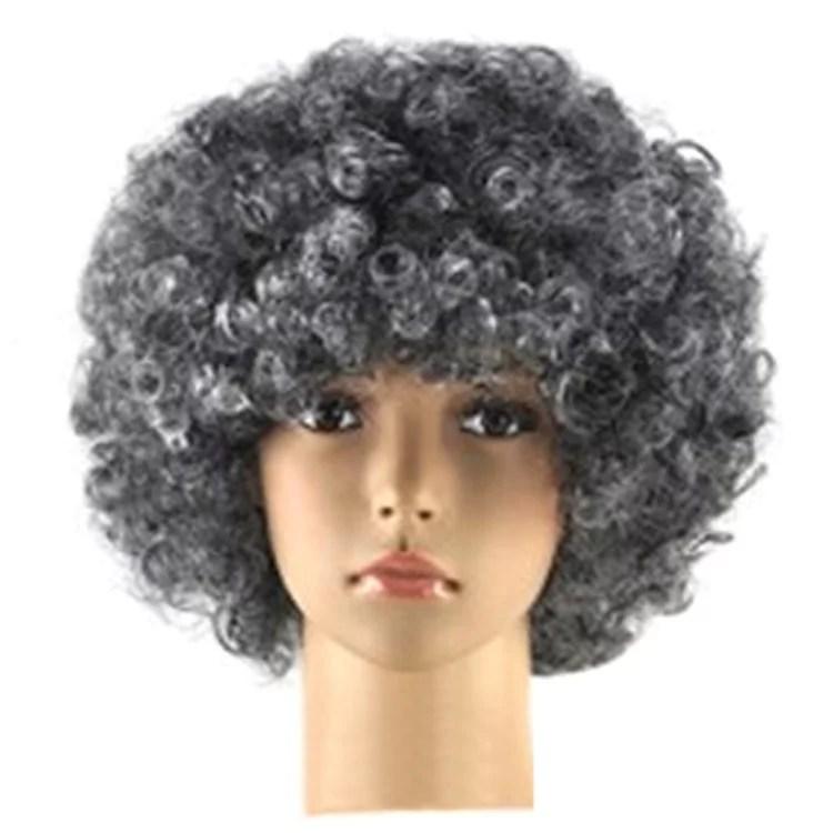 unisex afro short wig curly multicolour