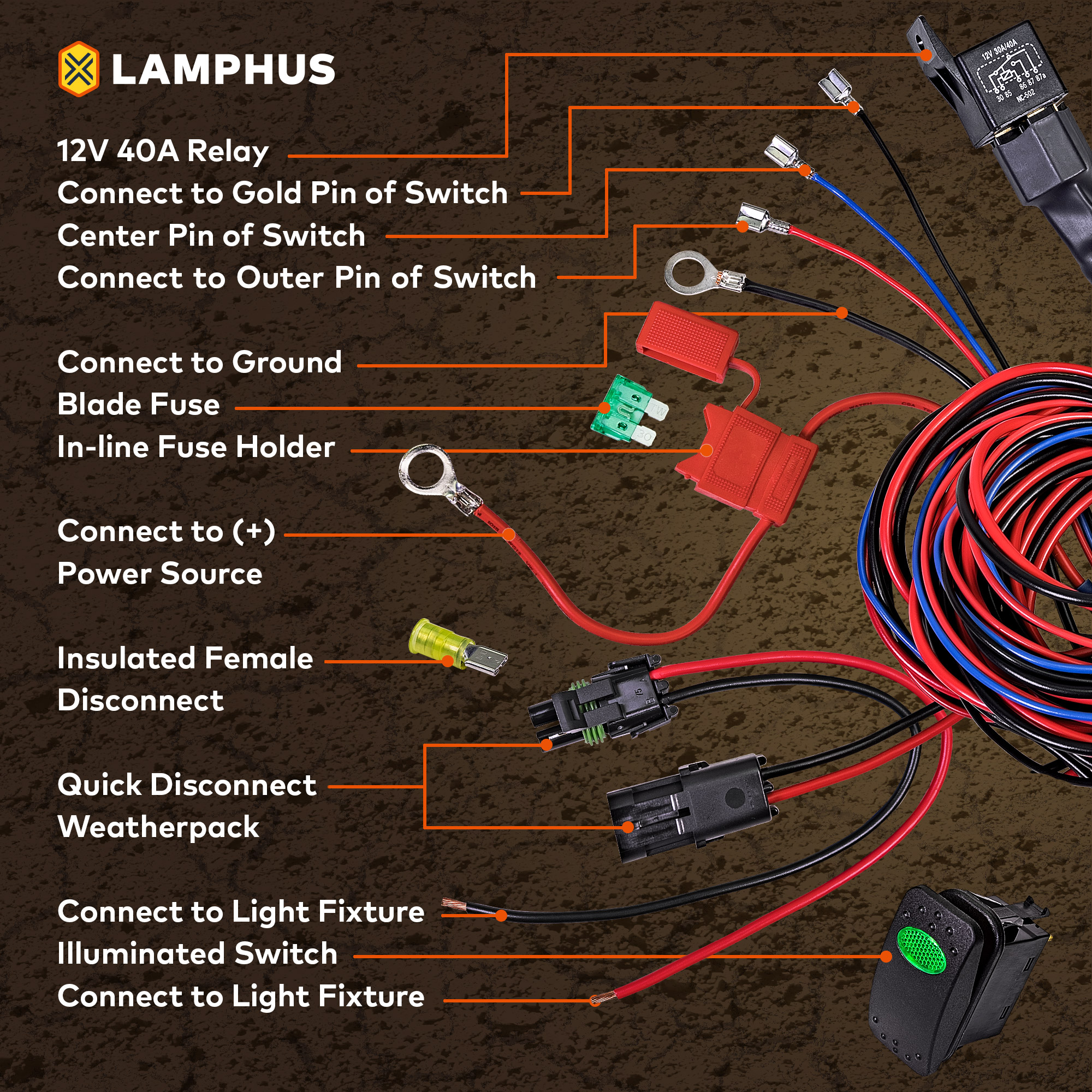 hight resolution of lamphus orwh05 17 heavy duty led off road light wiring harness set amber on off switch walmart com