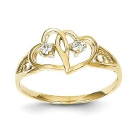 10k Yellow Gold Double Heart CZ Ring - Walmart.com