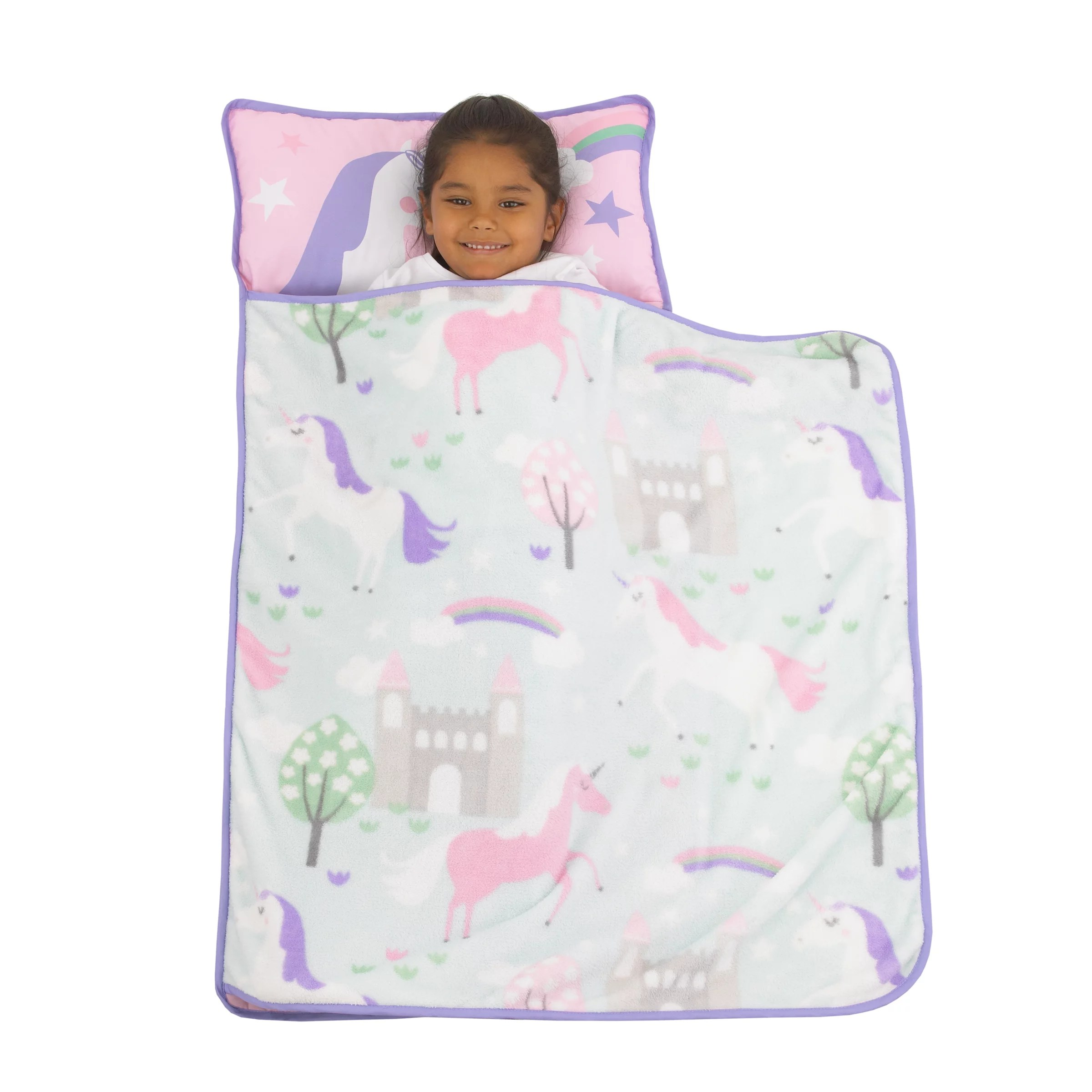 everything kids pink unicorn toddler nap mat with pillow and blanket walmart com