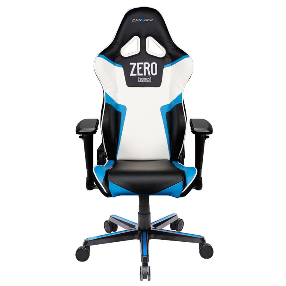 dx racing gaming chair kiddies party covers for sale racer dxracer series oh rv118 nbw zero high back carbon look vinyl pu black blue white walmart com