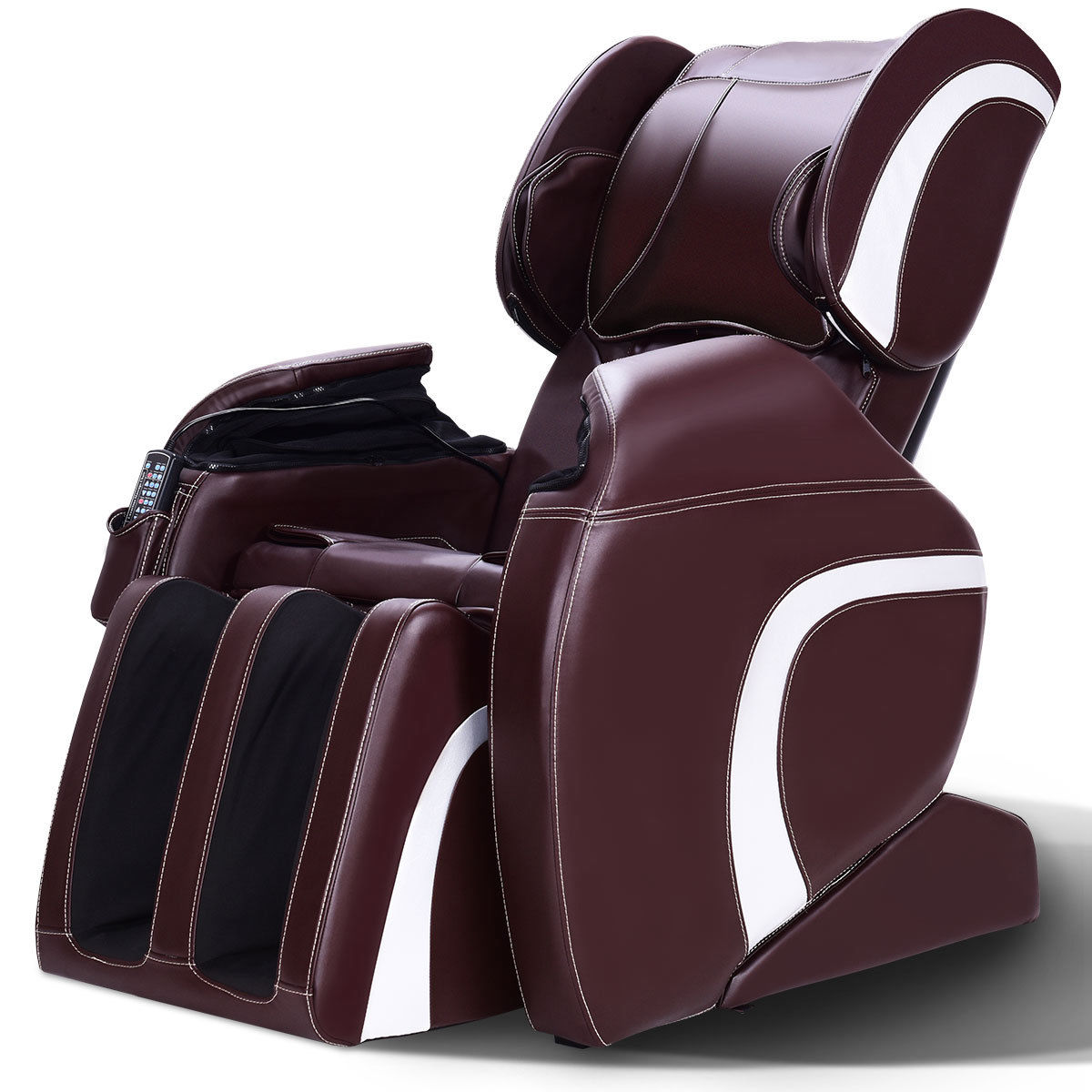 recliner massage chair white styling chairs costway electric full body shiatsu 22 airbags adjustable brown walmart com