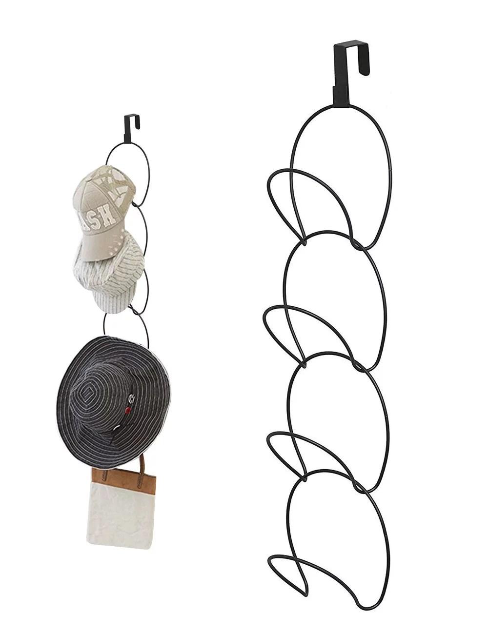 yoassi metal cap rack wall mounted over door hat rack baseball cap holder organizer hooks hanging storage for scarf clothes towels ties caps