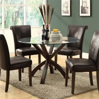 """Monarch 48"""" Round Glass Top Dining Table in Espresso ..."""