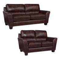 Eclipse Chocolate Brown Italian Leather Sofa and Loveseat ...