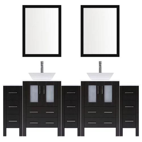 lesscare modern 106 double bathroom vanity set with mirror
