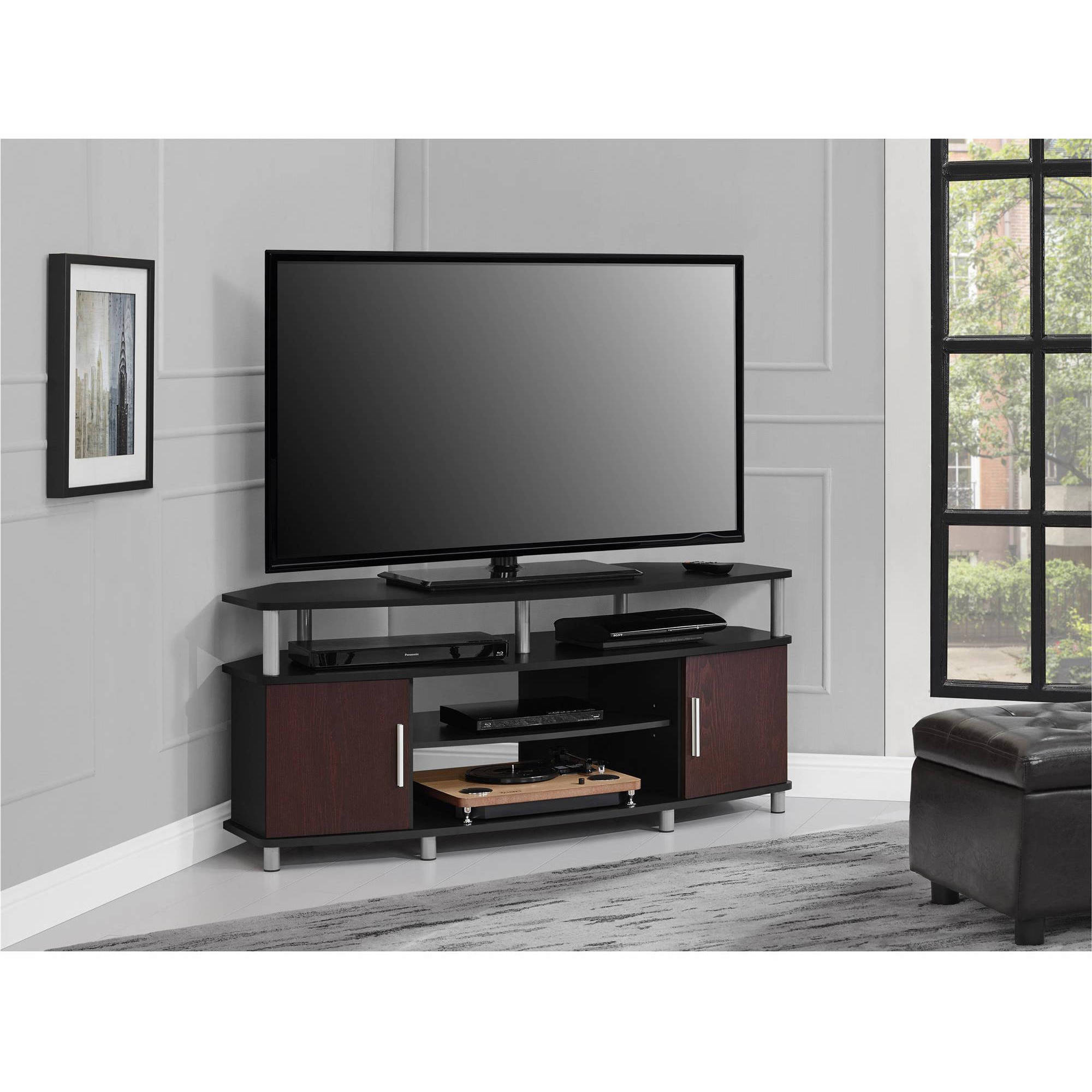 tv stand living room modern look ameriwood home carson corner for tvs up to 50 wide black cherry walmart com