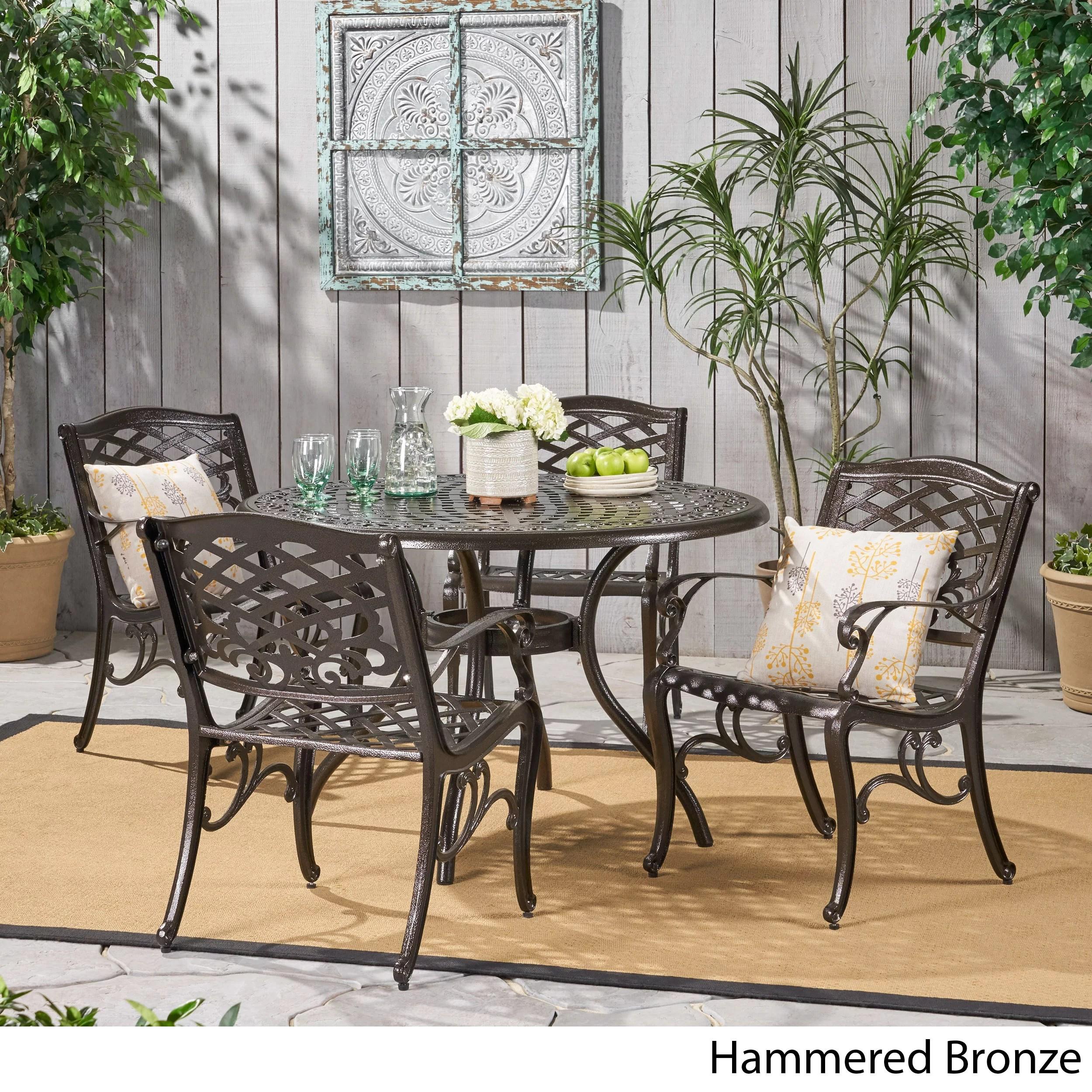 outdoor 5 piece cast aluminum outdoor dining set bronze