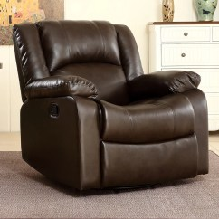 Walmart Living Room Chairs Garage Turned Into Belleze Faux Leather Rocker Swivel Glider Recliner Chair Brown Com