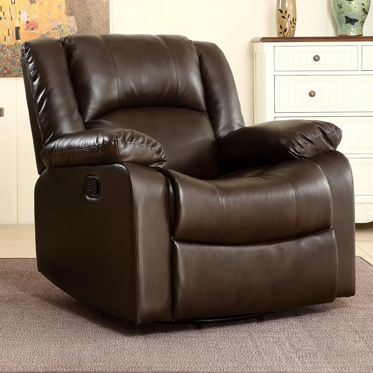 Swivel Living Room Chairs Belleze Faux Leather Rocker Swivel Glider Recliner Living Room Chair Brown