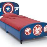 Delta Children Marvel Avengers Upholstered Twin Bed With Thor Iron Man Hulk Captain America Walmart Com Walmart Com