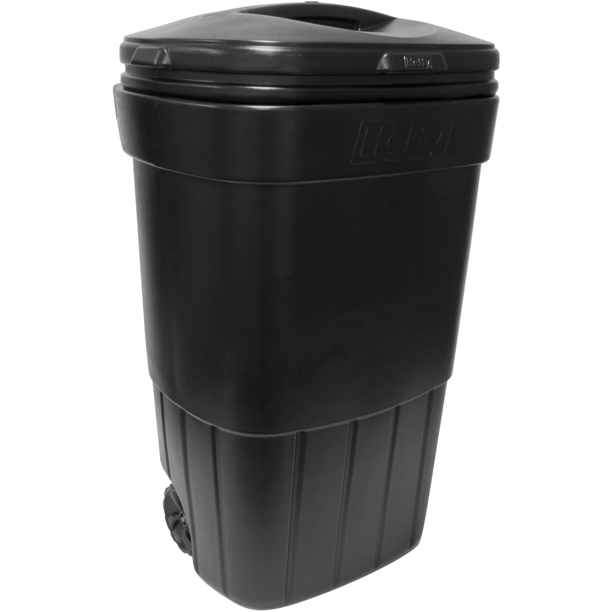 Hefty 45Gallon Wheeled Outdoor Trash Can Black Walmartcom