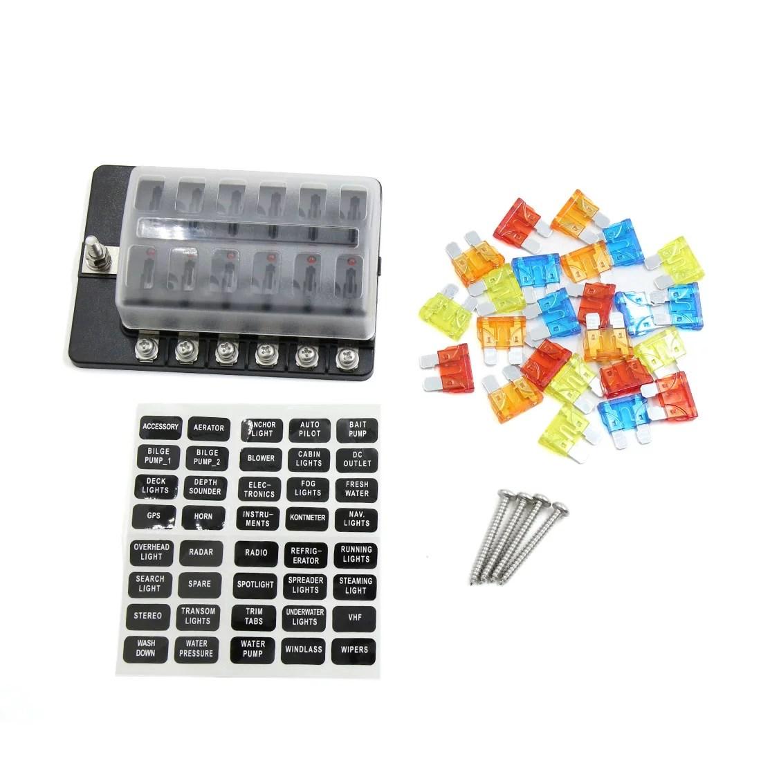 hight resolution of dc 12v red indicator 12 ways screw terminal fuse box holder for car walmart com