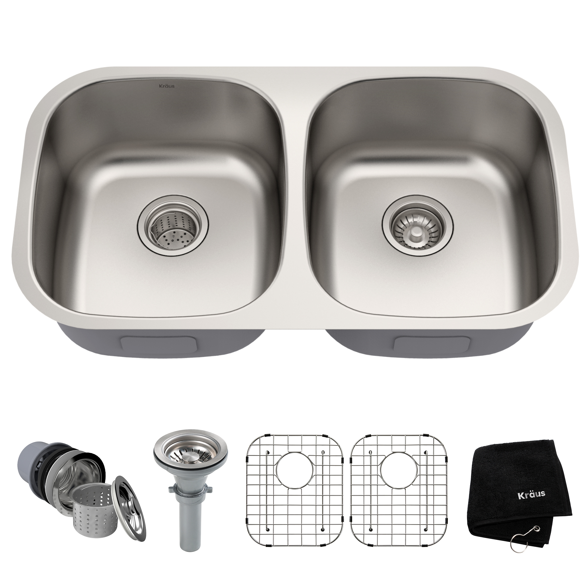 kraus kitchen sinks table sets cheap premier 32 inch 16 gauge undermount 50 double bowl stainless steel sink walmart com