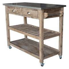 Kitchen Cart Table Grey Island Boraam Industries Sonoma Wire Brush Gray Finish Walmart Com