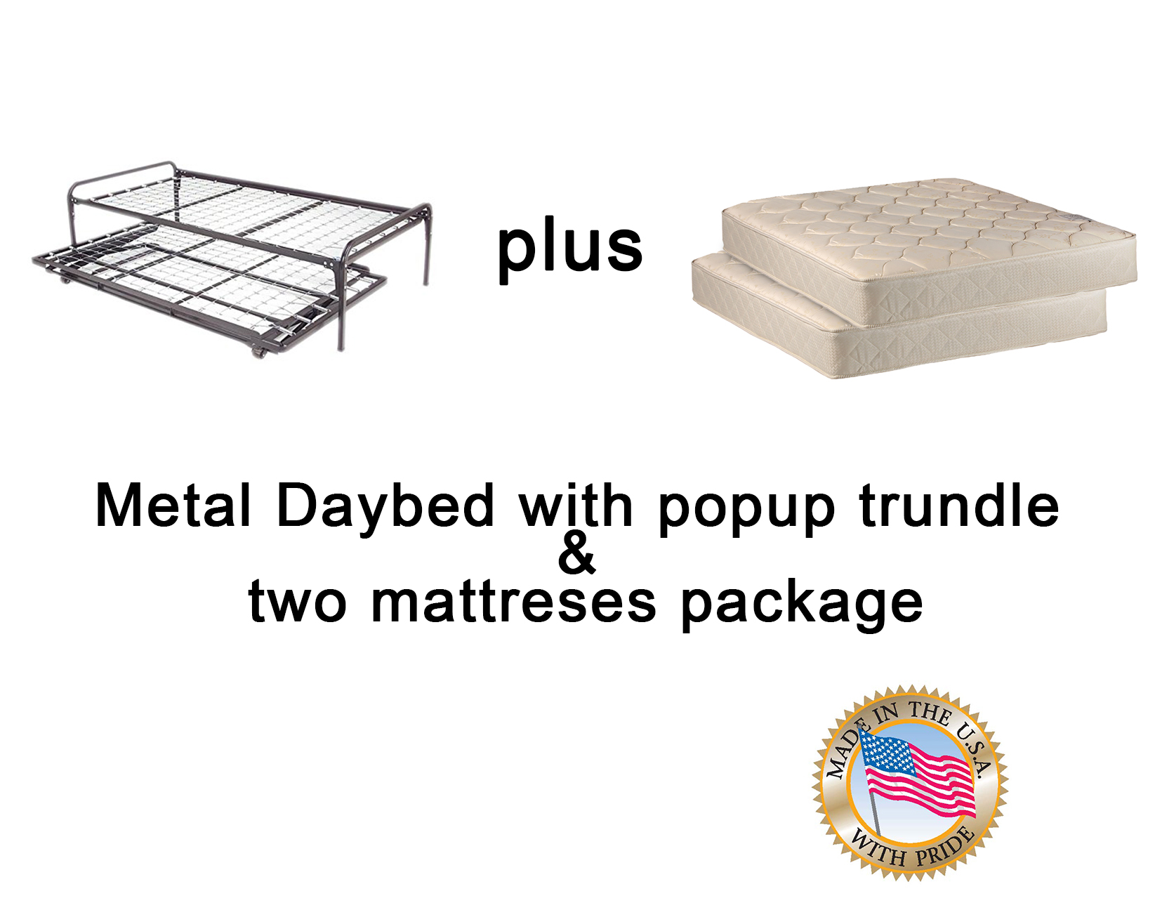 metal day bed daybed frame pop up 33 trundle with great firm mattresses included package deal