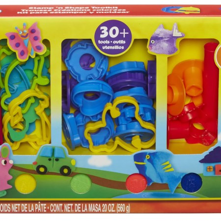 Play-Doh Stamp 'N Shape Tool Kit Set with 10 Pack of Dough & 21 Cutters!