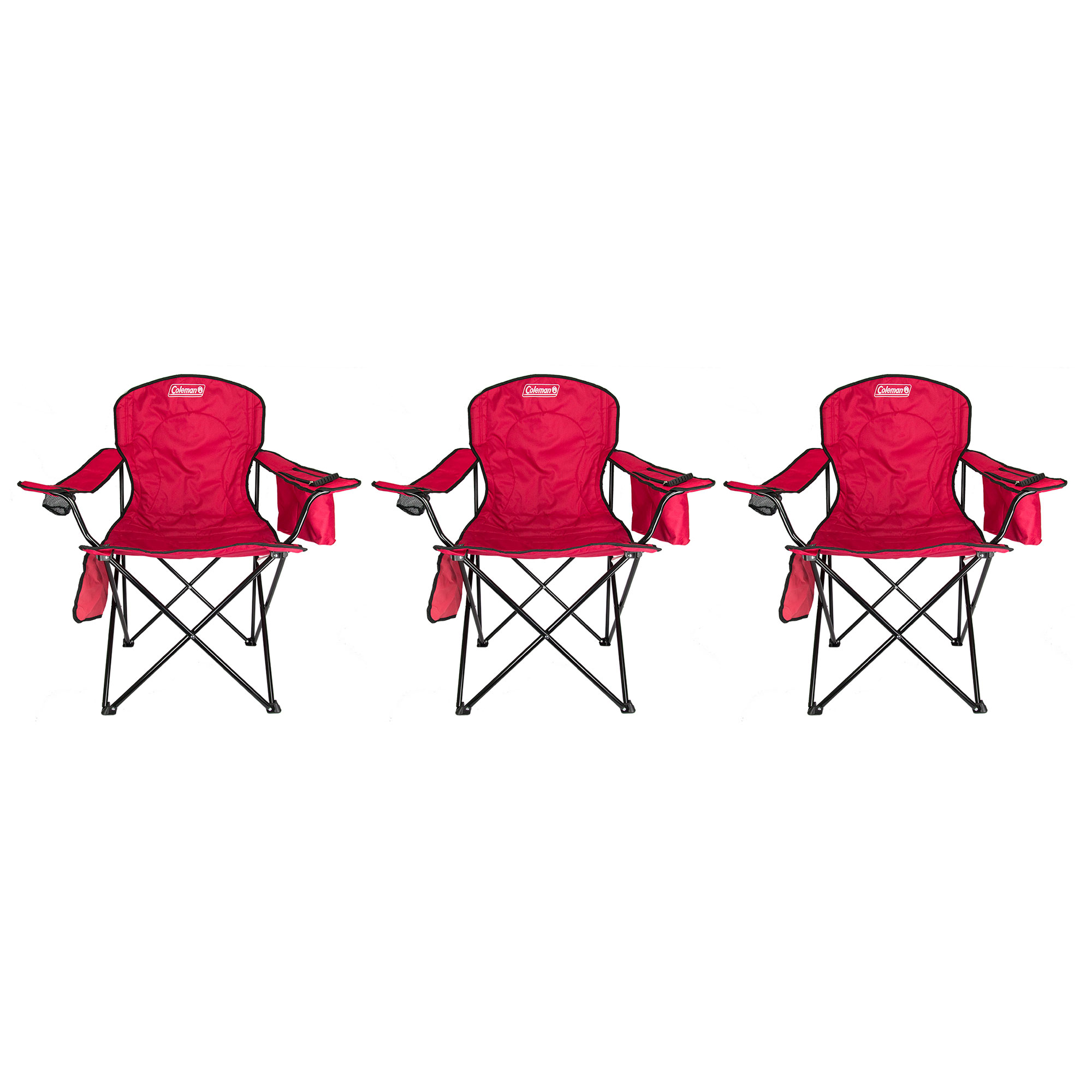 folding quad chair step 2 table and chairs coleman with built in cooler cup holder red 3 pack walmart com