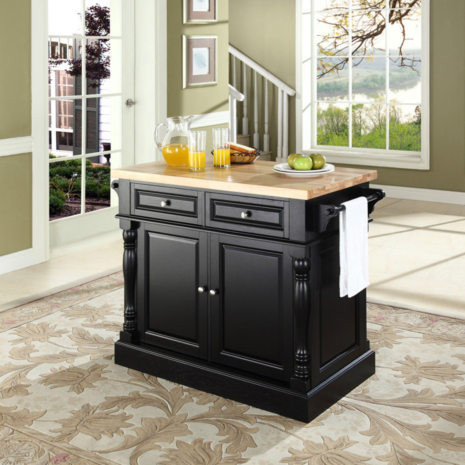 crosley kitchen island free standing sink unit furniture butcher block top walmart com