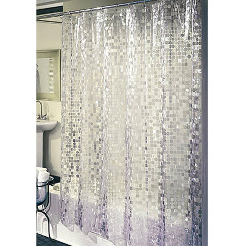 ExCell Home Fashions Disco Vinyl Shower Curtain Silver  Walmartcom