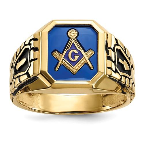 10k Yellow Gold Blue Acrylic Men's Masonic Ring