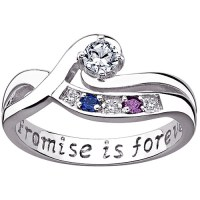 Personalized Women's Sterling Silver CZ Diamond Accent ...