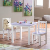 Lipper Kids Small Lilac and White Table and Chair Set ...