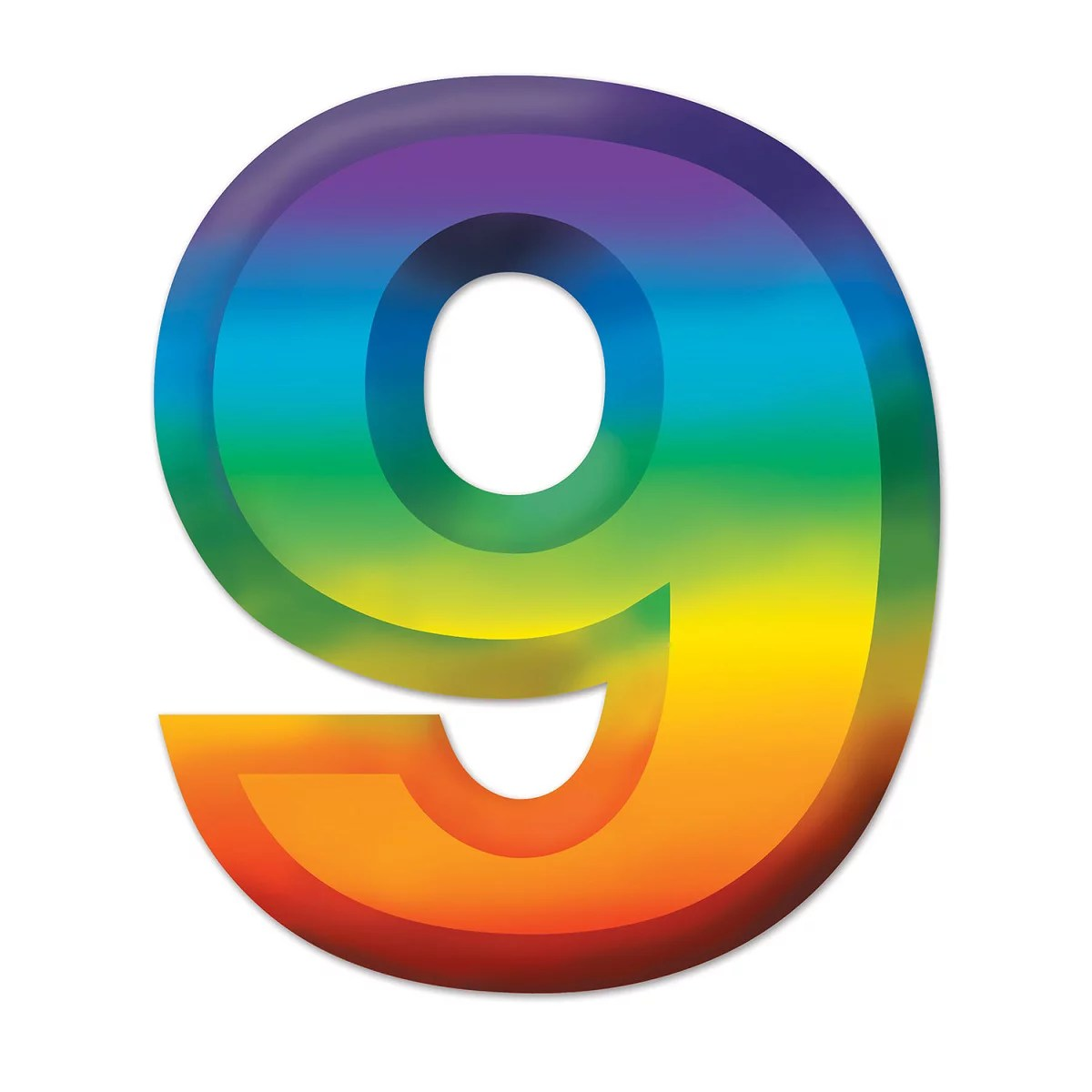 Club Pack Of 24 Bright Rainbow 3 D Number 9 Party