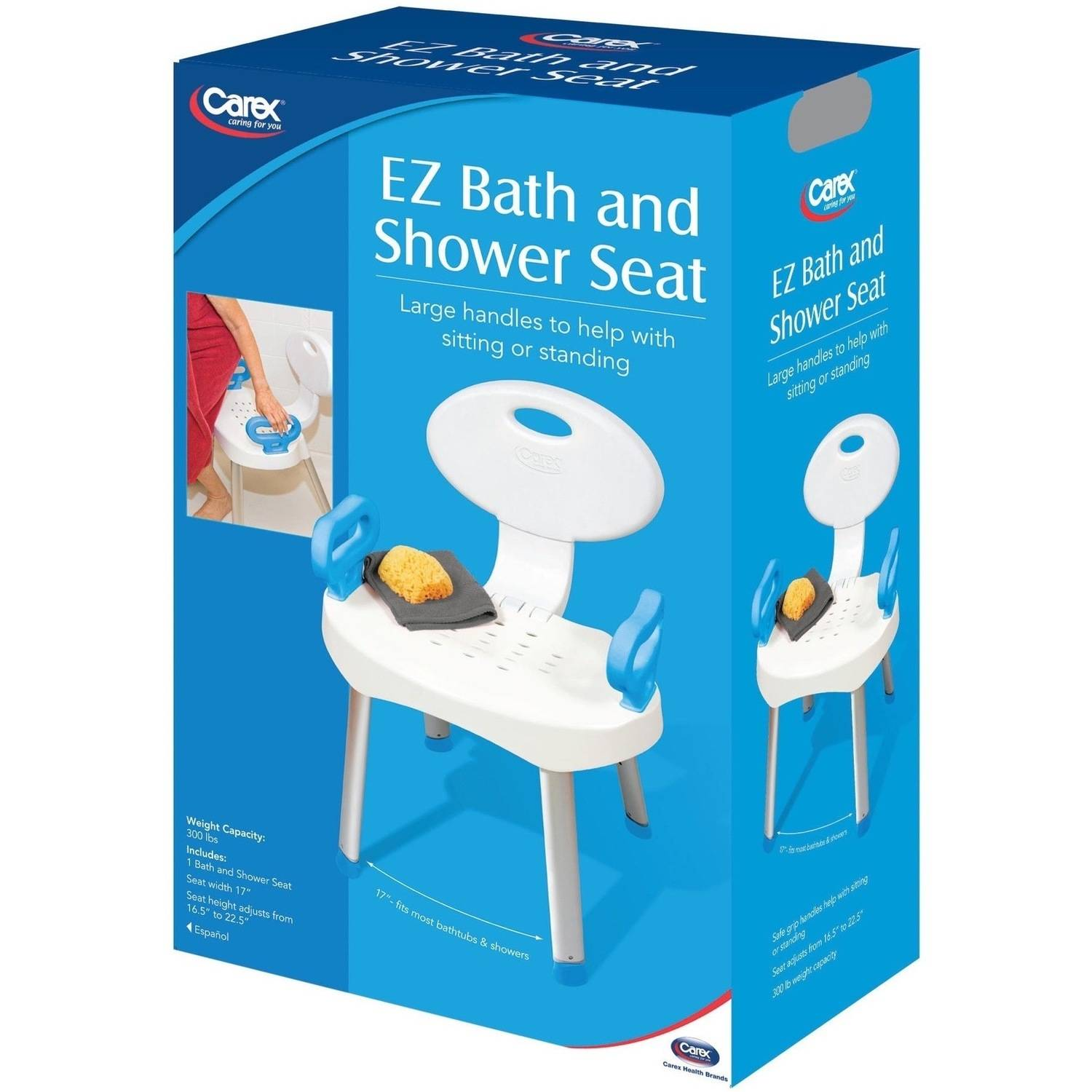 carex shower chair design miniature e z bath and seat with handles back for elderly seniors handicap walmart com