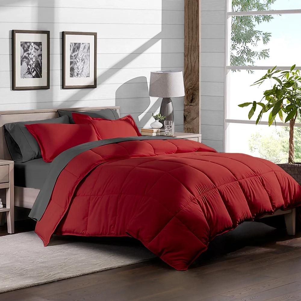 7 piece bed in a bag queen comforter set red sheet set grey