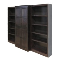 Concepts in Wood 15 Shelf Bookcase Wall with Doors, 72 ...