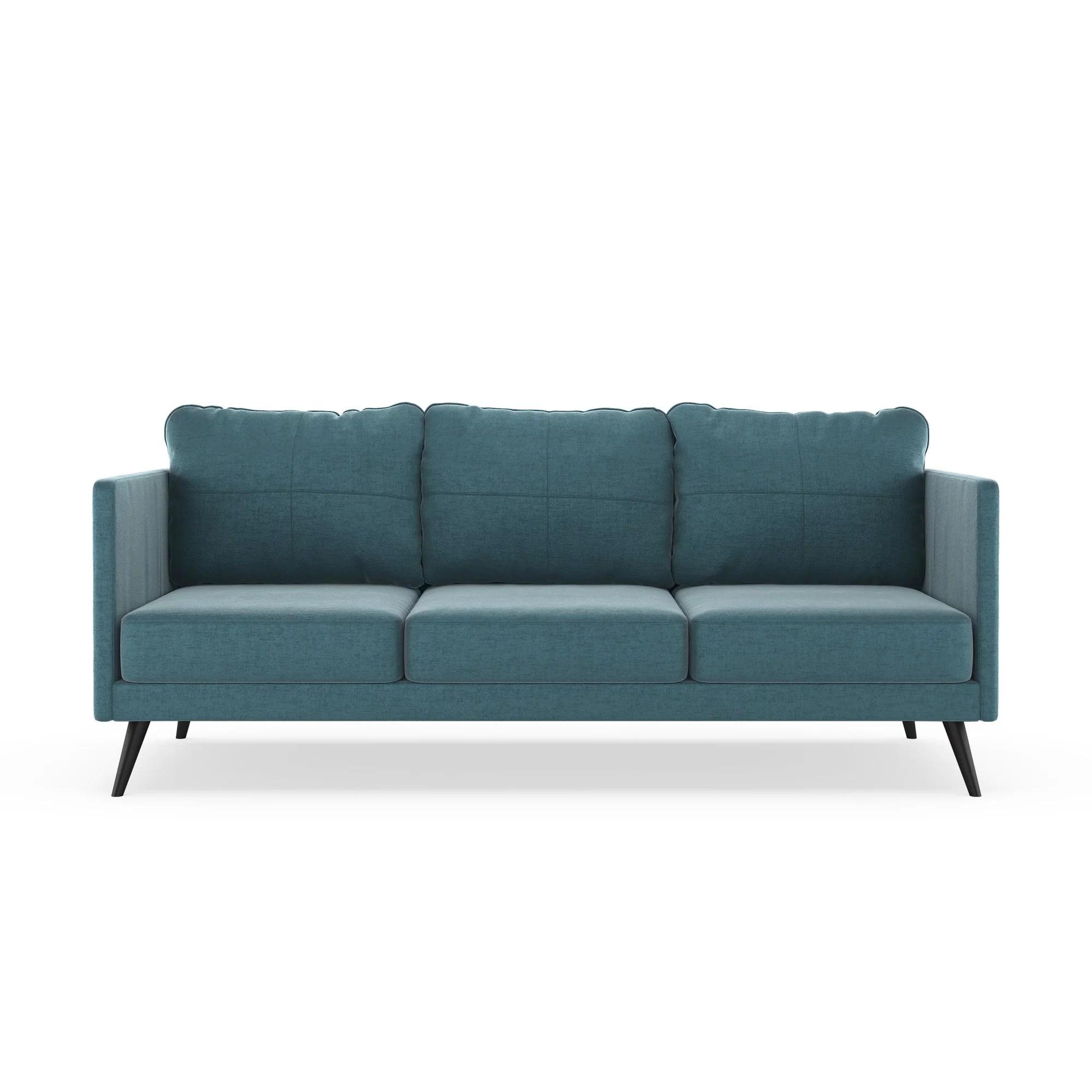 monroe sofa small sectional bobs furniture mod velvet steel blue walmart