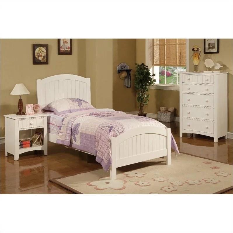 poundex 3 piece kids twin size bedroom set in white finish walmart com