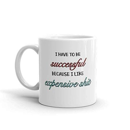 I Have To Be Successful Because I Like Expensive Shit Funny Novelty Humor 11oz White Ceramic Glass Coffee Tea Mug Cup