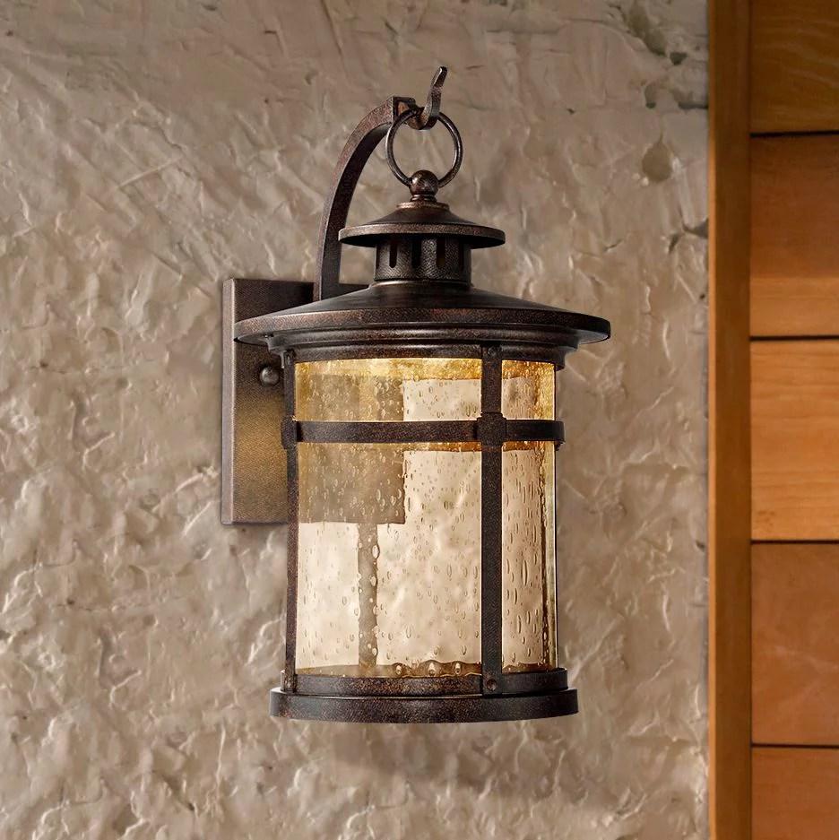 franklin iron works callaway 11 1 2 high rustic bronze led outdoor wall light walmart com