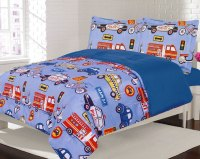 Bedding Twin 2 Piece Comforter Bed Set, Boys Cars Trucks