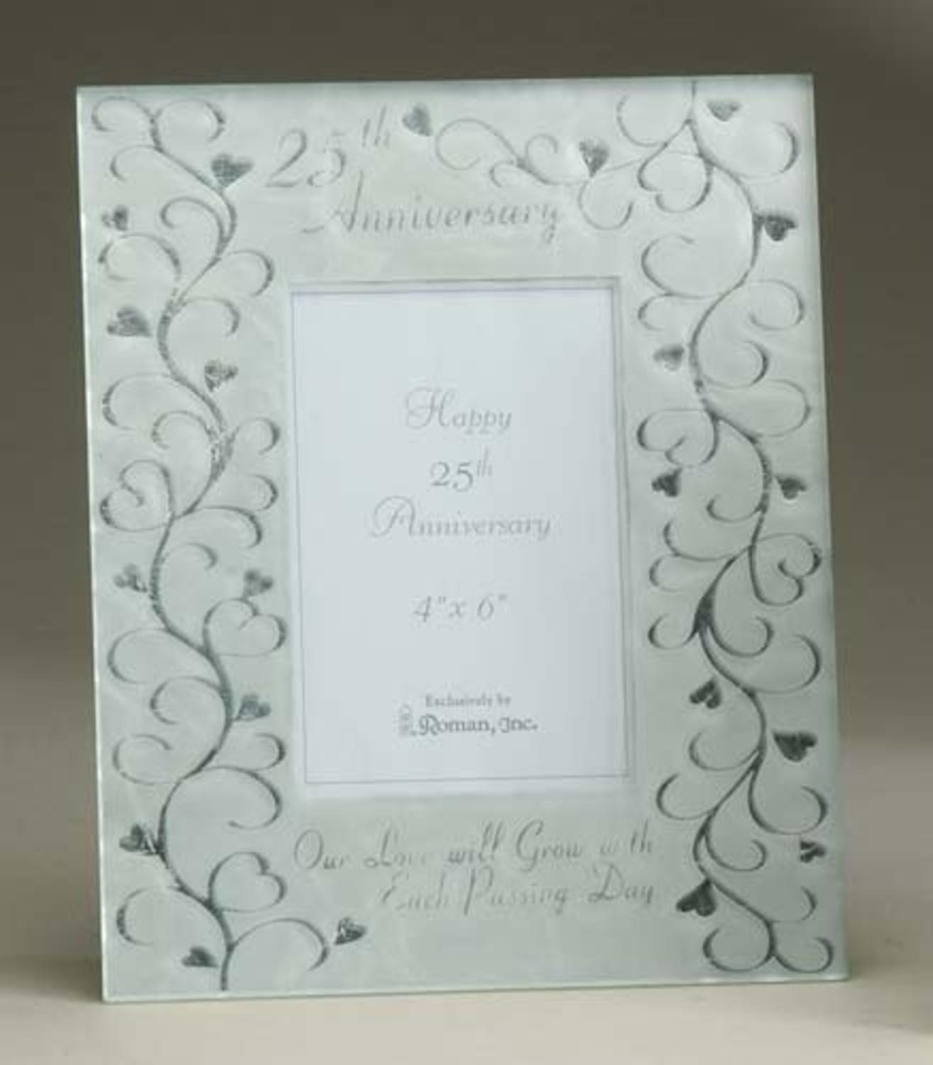 Silver 25th Wedding Anniversary Glass 4 x 6 Photo