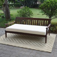 Alston Wood Outdoor Sofa Daybed with White Cushion ...