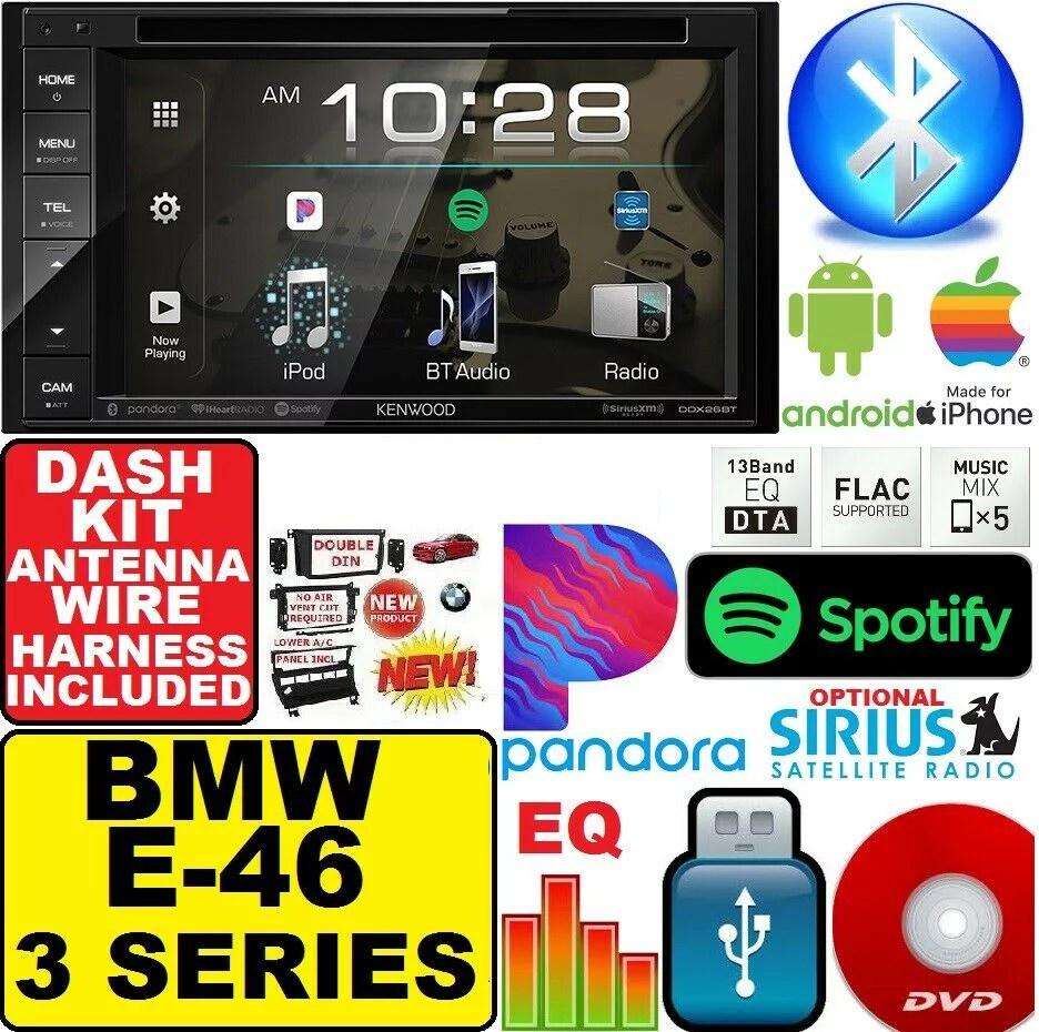 medium resolution of bmw e46 kenwood dvd bluetooth double din car stereo radio dash kit 46 car stereo wiring harness kit car stereo harness wiring dual car