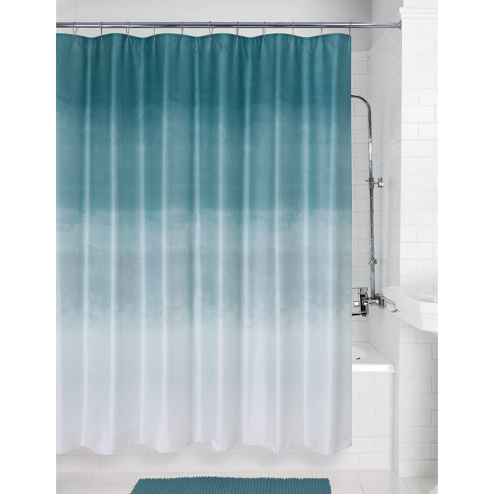 metallic ombre glimmer teal polyester printed fabric shower curtain by allure home creation 70 x 72