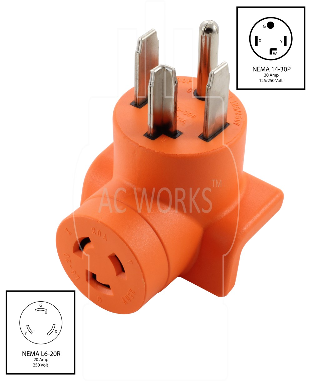 medium resolution of ac works ad1430l620 dryer outlet adapter nema 14 30p 30amp dryer plug to l6 20r 20amp 250volt locking female connector walmart com