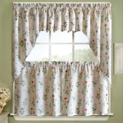 Swag Kitchen Curtains Sink English Garden Floral Jacquard 24 36 Tier Pair 38 Or 12 Valance White Walmart Com