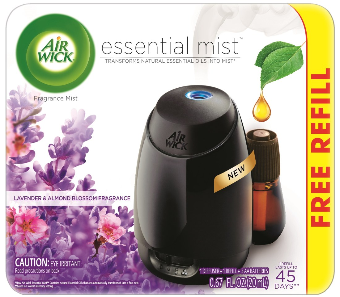 Air Wick Essential Mist Starter Kit (Diffuser + Refill), Lavender and Almond Blossom, Essential Oils Diffuser, Air Freshener