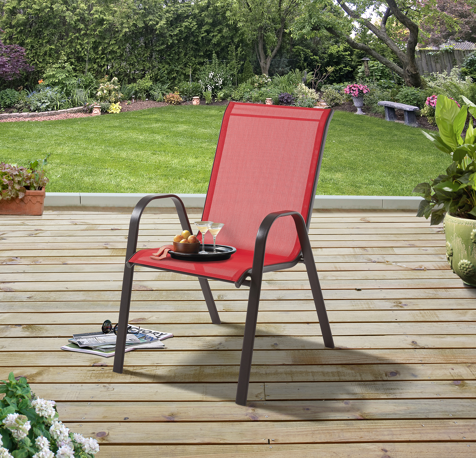 mainstays heritage park stacking sling outdoor patio chair red