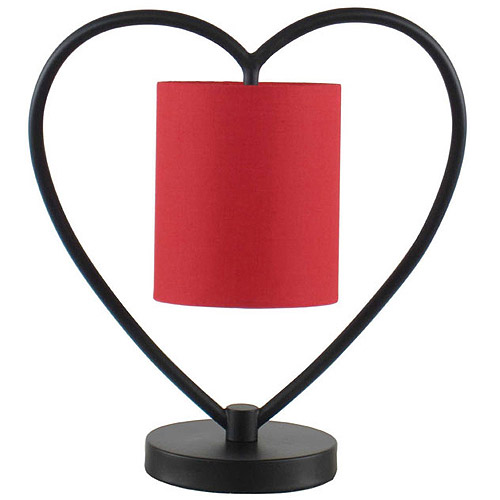 Heart Shaped Table Lamp with Red Shade, Restoration Bronze