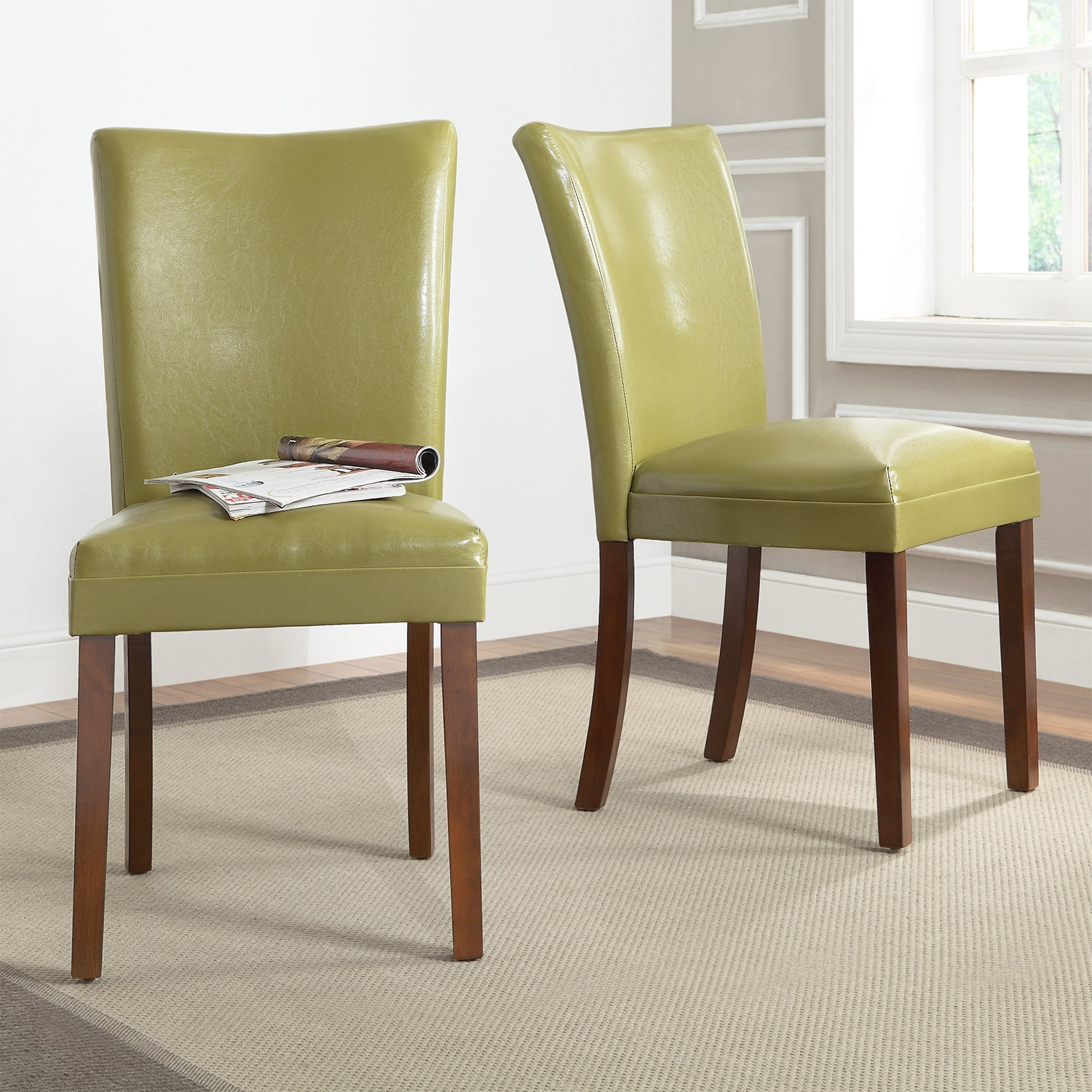 green upholstered dining chairs high end folding tribecca home estonia olive set of departments